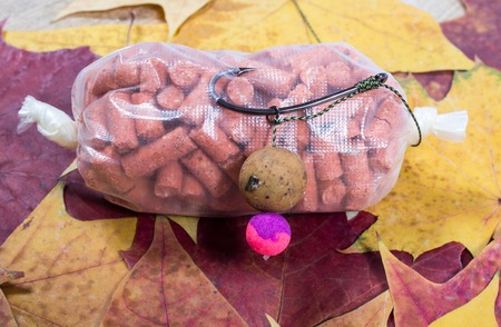 fishing rig: Carp Hook Boilies on a leaf background