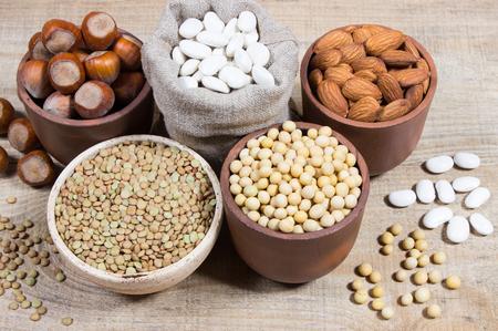 Verschillende bronnen van plantaardige eiwitten. Het concept van vegetarische en veganistische diëten. Stockfoto