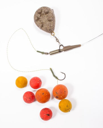 fishing rig: Carp Hook Boilies isolated on white background Stock Photo