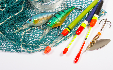 wobler: bait, wobbler and fishing accessories isolated on white Stock Photo