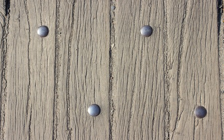 rivets: Close up of wooden planks with rivets. Background. Stock Photo