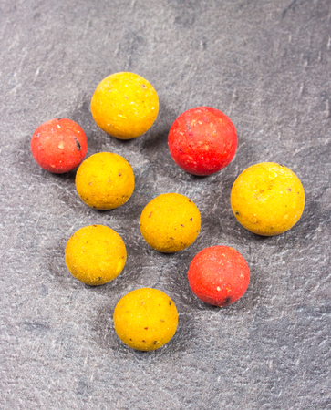 fishing rig: Carp Hook Boilies on black background