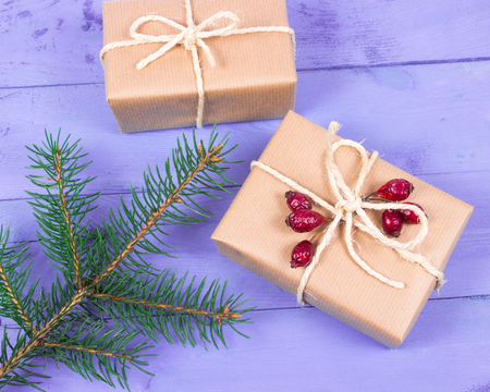 Rustic gifts for christmas with kraft paper.