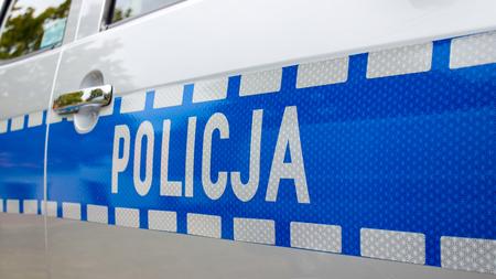Poland, Poznan -October 1, 2016. Policja - view on the sign Polish police on the car.