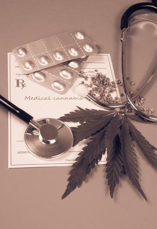 legalize: Medical marijuana prescription with stethoscope . CloseUp.