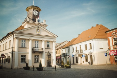 Konin, Poland - July 22, 2017: View on historic town hall of small Polish town called Konin. Greater Poland province. Editorial