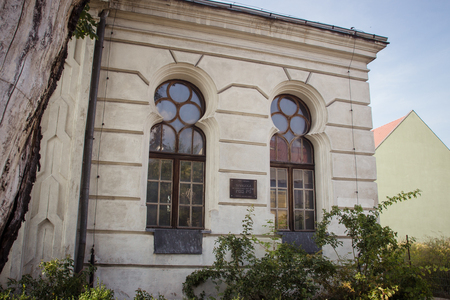 Konin, Poland - July 22, 2017: View on detail of synagogue small Polish town called Konin. Greater Poland province.