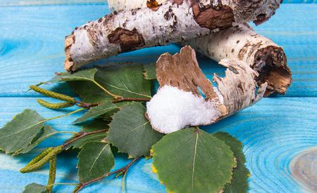 자일리톨 - 당뇨병 환자를위한 설탕 대체품. 푸른 나무 배경에 자작 나무 설탕입니다.