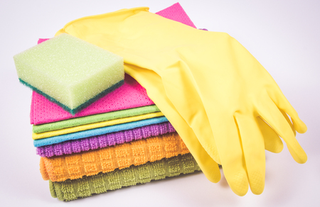 Cleaning stuff - housekeeping concept. Cleaning supplies isolated on white background.