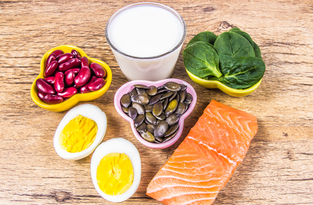 Products containing a lot of vitamin D. A healthy diet - vitamins. Stockfoto