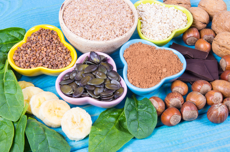Healthy food nutrition dieting concept. Assortment of high magnesium sources.