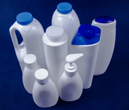 Plastic packaging for cosmetics and food. The concept of waste segregation. Recycling.