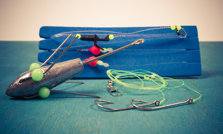 Surfcasting - a method of sea fishing. Fishing accessories used for sea fishing. Stock Photo