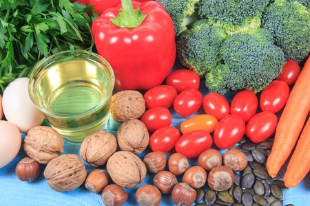 Products containing a large amount of vitamin E. Conception of a healthy diet. Stock Photo