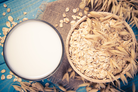 Closeup of oat milk. The concept of a vegetarian diet. Stock Photo