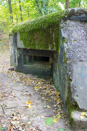 Abandoned ruins of the Polish bunker from the times of the Second World War. Polish field fortifications.