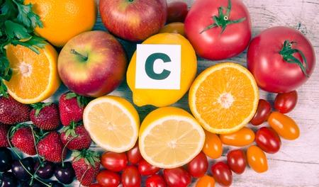 Fruit and vegetables containing vitamin c. The concept of healthy eating.