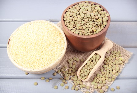Green lentils and millet - a vegetable source of protein. The concept of a healthy diet.