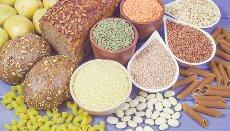 Products containing complex carbohydrates. A source of energy, vitamins and fiber. Stock Photo