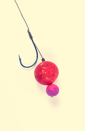Fishing rig with a protein ball. Method catch carp. Stock Photo