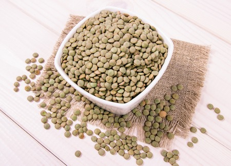 Green lentils - an ingredient of a healthy diet. Stock Photo