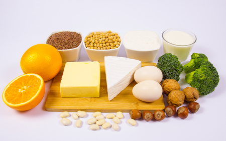 The ingredients contain a large amount of calcium. The concept of a healthy diet. White background.