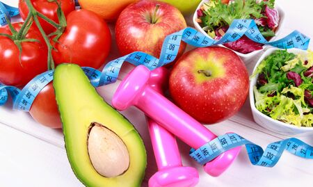 Fruit and vegetables as part of a healthy diet - concept of healthy eating.
