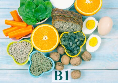 Ingredients containing vitamins B1 (thiamine). Ingredients of a healthy and balanced diet. 스톡 콘텐츠