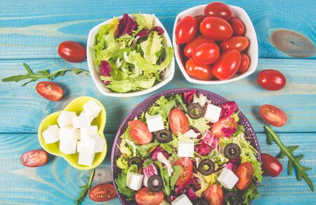 Conception of healthy eating. Fresh vegetable salad with feta cheese. 스톡 콘텐츠