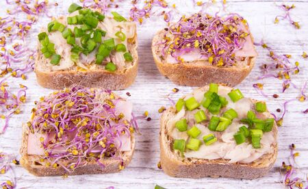 The concept of a healthy diet. Sandwiches with ham, smoked mackerel and kale sprouts on a wooden background.
