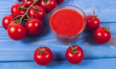 Fresh tomato juice. A component of a healthy diet. A source of many vitamins.