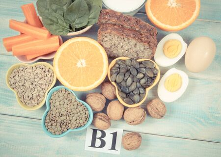 Ingredients containing vitamins B1 (thiamine). Ingredients of a healthy and balanced diet. Stok Fotoğraf