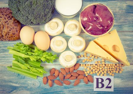 Food ingredients containing a large amount of vitamin B2 (riboflavinum). The concept of healthy eating. Balanced diet. Stock fotó - 131955531