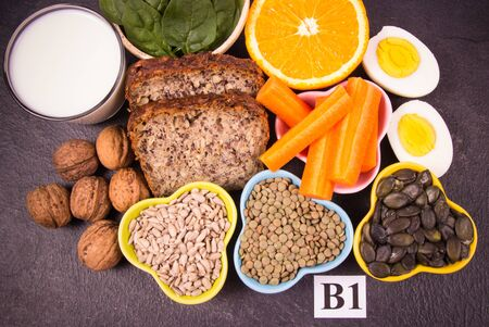 Ingredients containing vitamins B1 (thiamine). Ingredients of a healthy and balanced diet. 写真素材