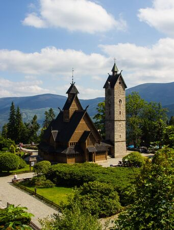 Karpacz, Poland. Wang temple. General view of the wooden church. Historic temple, moved from Norway, built by Vikings.