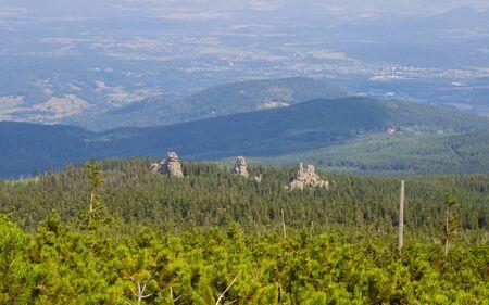 General view of the Polish Karkonosze Mountains. Mountains, trails and vegetation. Stock Photo