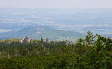 General view of the Polish Karkonosze Mountains. Mountains, trails and vegetation. 写真素材