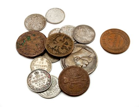 Russias old copper and silver coins Stock Photo