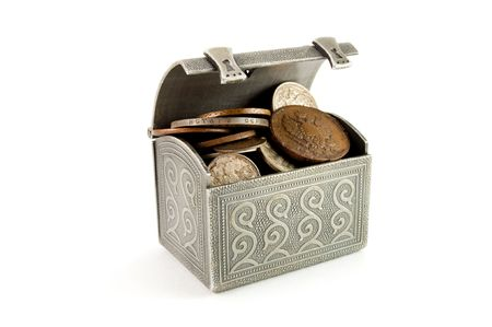 metallic coffer with ancient coin