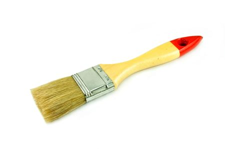 Paint brush with a wood handle isolated on a white background