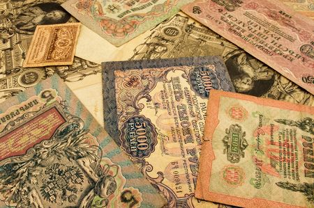 Old russian money banknotes close-up, background