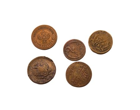 old copper russian coins on white background