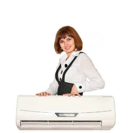 girl with air conditioning on a white background