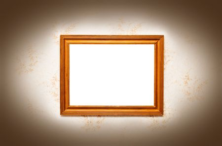 golden frame for a picture on the wall Stock Photo