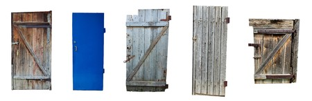set from old doors on white background