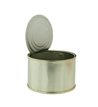 empty tin can on white background Stock Photo - 8144429