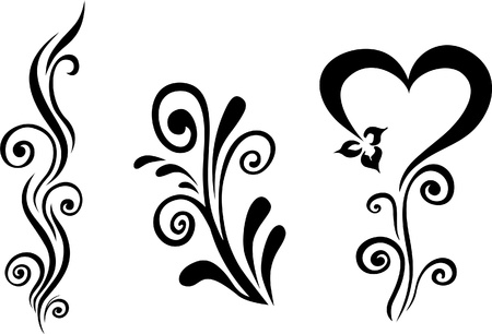 stencil art: Vector floral Illustration