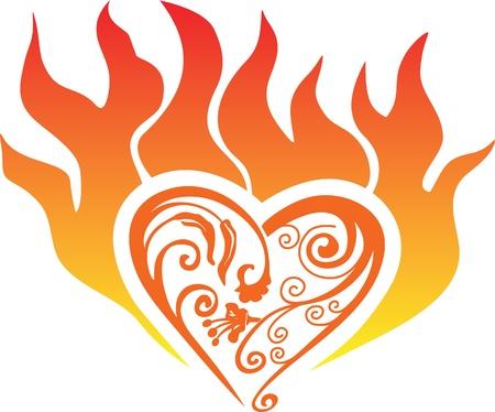 burning heart: vector burning heart