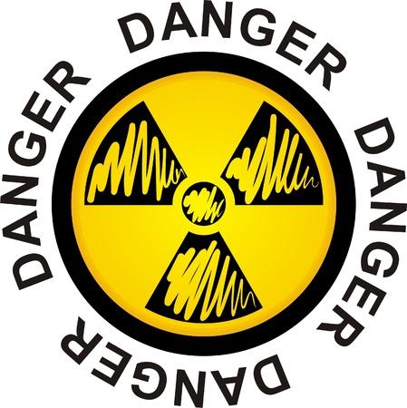 irradiation: symbol to radiation, danger sign, illustration