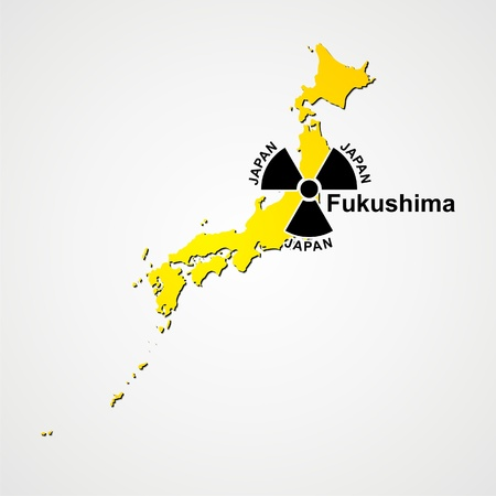 nuclear fission: silhouette to japan and sign to radiation, damage on fukushima Illustration